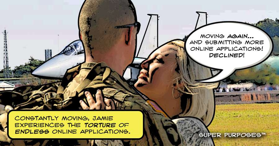 A military couple embracing and one spouse saying that all her online applications were declined