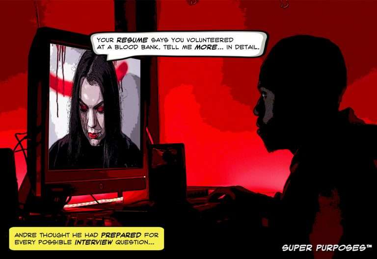 Humorous image of job applicant interviewing with a vampire.
