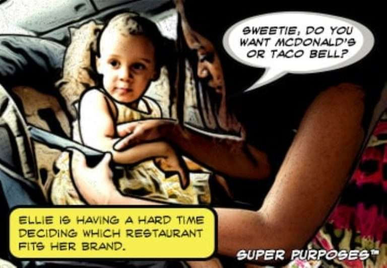 A young girl ponders which fast-food restaurant best fits her brand.