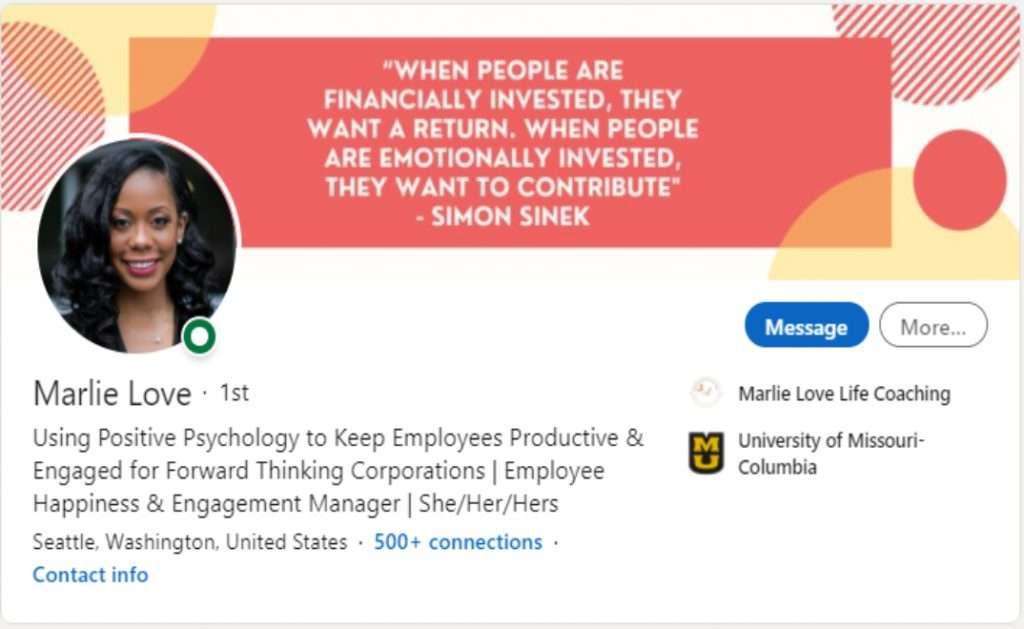 Screenshot of Marlie Love's LinkedIn profile