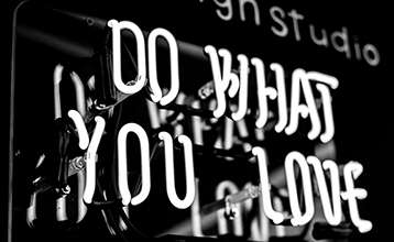 Neon sign with the message do what you love