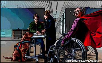 two people with disabilities, one blind, the other in a wheel-chair,a seeing eye-dog, a person and another person helping.